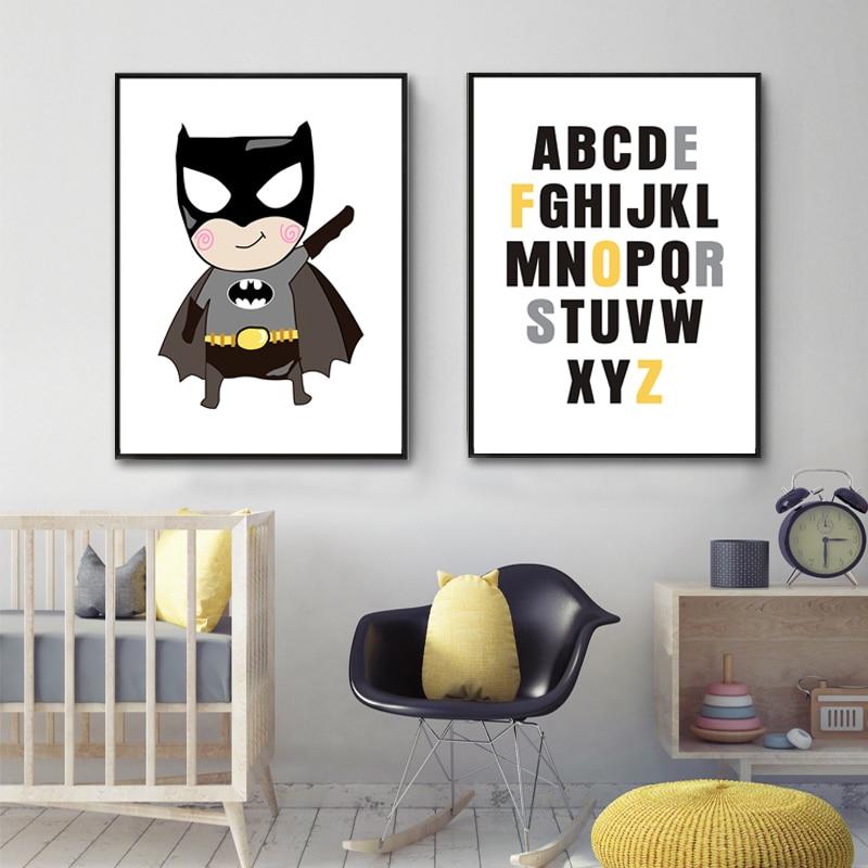 Cartoon Alphabet ABC Nursery Canvas Art Prints Painting Poster on Canvas POP Wall Picture Kids Room Home Decor