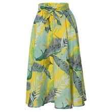 Stretch Fabrics Printed Elastic Waist Beach Skirt Women 2019 Casual A-line Midi Womens Skirts Female Lace Up Waist