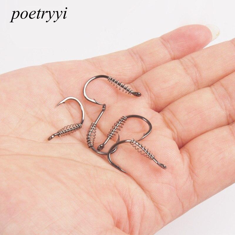 Poetryyi aço inoxidável ganchos de pesca giratória farpado gabarito da carpa fishhook primavera gancho com furo para pesca enfrentar p30