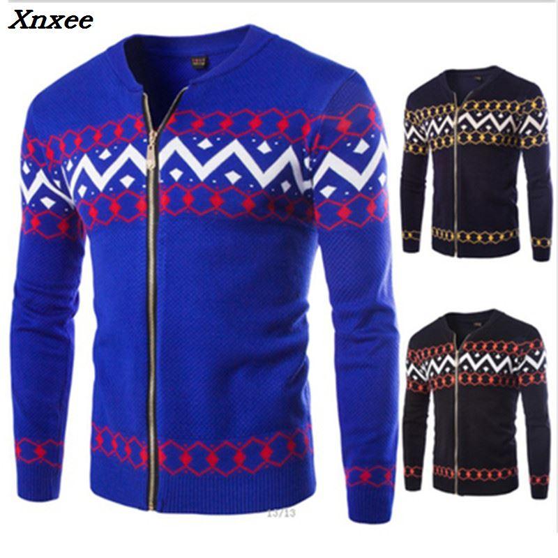 2018 Новые мужские свитера осень зима теплый кашемировый шерстяной пуловер на молнии свитера мужские повседневные трикотажные мужские повсе...