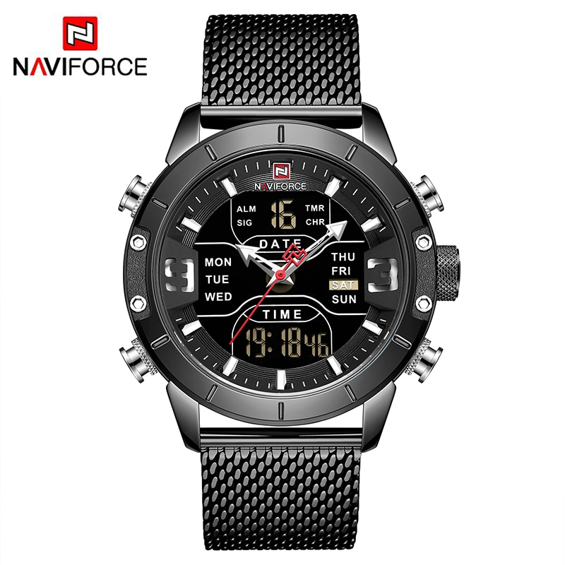 ¡Moda 2019! reloj NAVIFORCE de cuarzo para hombre con doble pantalla, reloj de acero inoxidable resistente al agua para hombre, reloj Masculino