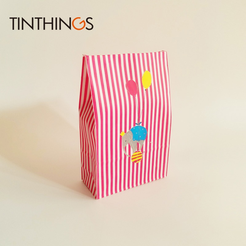 12 Pcs kraft paper gift bag Candy cookies Red Stripe Animal kraft paper bags birthday Party kids gift packaging bag oil-proof