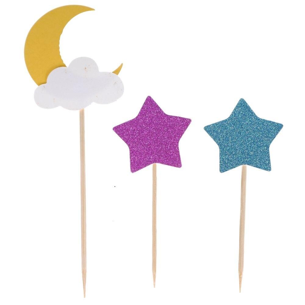 3 uds pastel Topper Luna estrella gota de agua boda fiesta cumpleaños Cakecup decoración banderas
