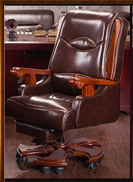 Boss chair. Real leather computer chair. Home massage can lie in the leather chair. Solid wood armrest office chair.26 real leather boss chair can lie high grade massage computer chair home office chair real wood swivel chair 08