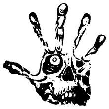 14CMX14CM crâne yeux doigts Zombie main vinyle autocollants voiture autocollants noir/argent C1-3139
