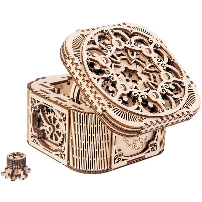 2019 neue holz schmuck box montiert kreative spielzeug geschenk puzzle holz mechanische übertragung modell montiert spielzeug DIY geschenk
