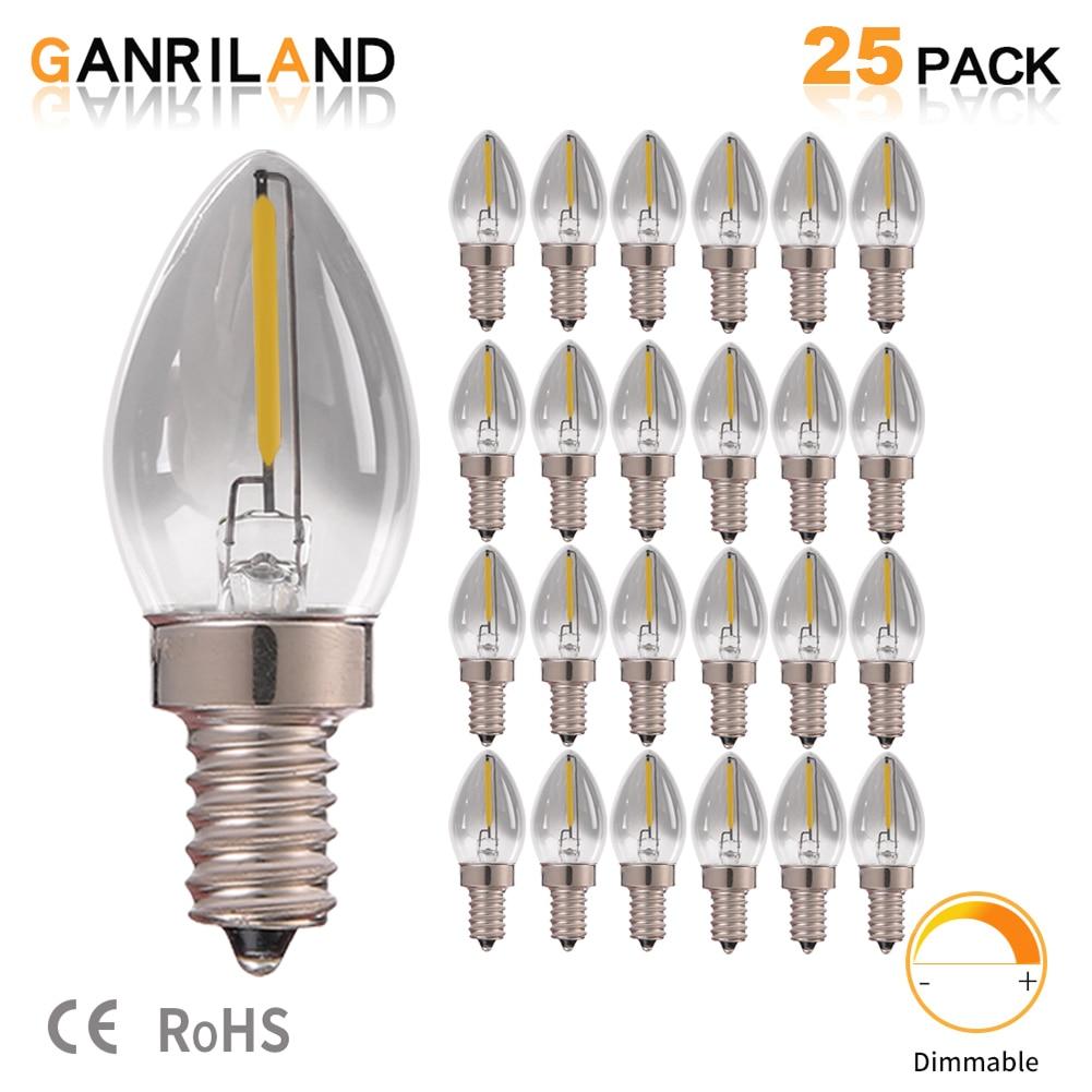 C7 0.5W Smoke Glass Light E14 LED Filament Candelabra Bulbs Night Bulb Natural Light 4000K 5 Watt Equivalent Dimmable Led Lamps