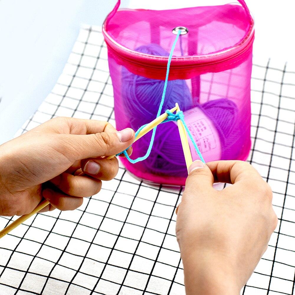 Bolsa de almacenamiento para hilo de hilo Zip Lock con agujero malla bolsas Crochet contenedor portátil caliente púrpura ligero bolsa de mano F125