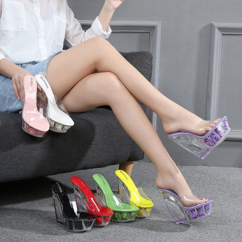 Sandalias de tacón alto de moda sexis de verano de 12 CM, zapatillas, cuñas de plataforma de cristal transparentes, zapatos, sandalias de gelatina, zapatos de playa