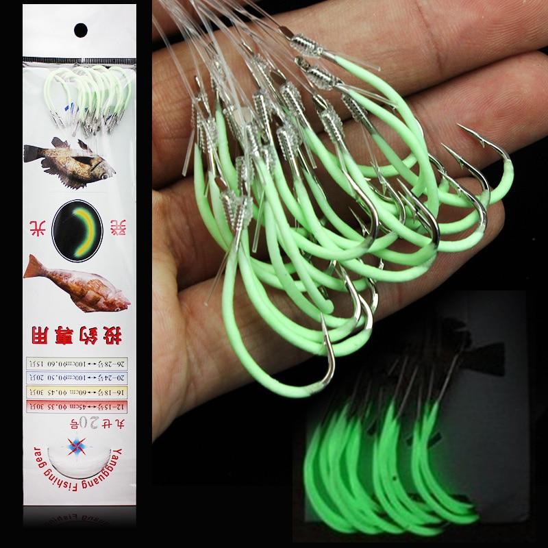 Крючки для ночной рыбалки, светящиеся в темноте, 12-30 #, светящиеся кривошипы, одинарные рыболовные крючки для пресной и морской воды