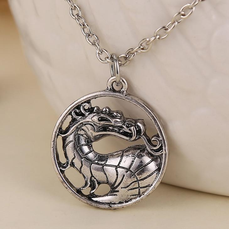 Mortal kombat colar liu kang dragão antigo pingente de cor prata do vintage moda quente jogo de filmes jóias masculinas por atacado