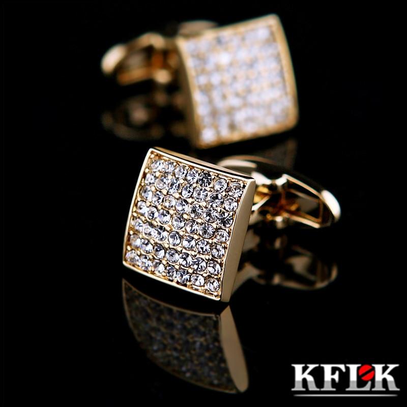 KFLK Jewelry french shirt cufflink for mens designer Brand Cuffs link Button Gold High Quality Luxury Wedding male guests