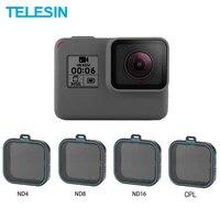 telesin conjunto de lentes protectoras nd4 nd8 nd16 cpl filtro para gopro hero 5 6 7 black hero 7 accesorios de cmara p