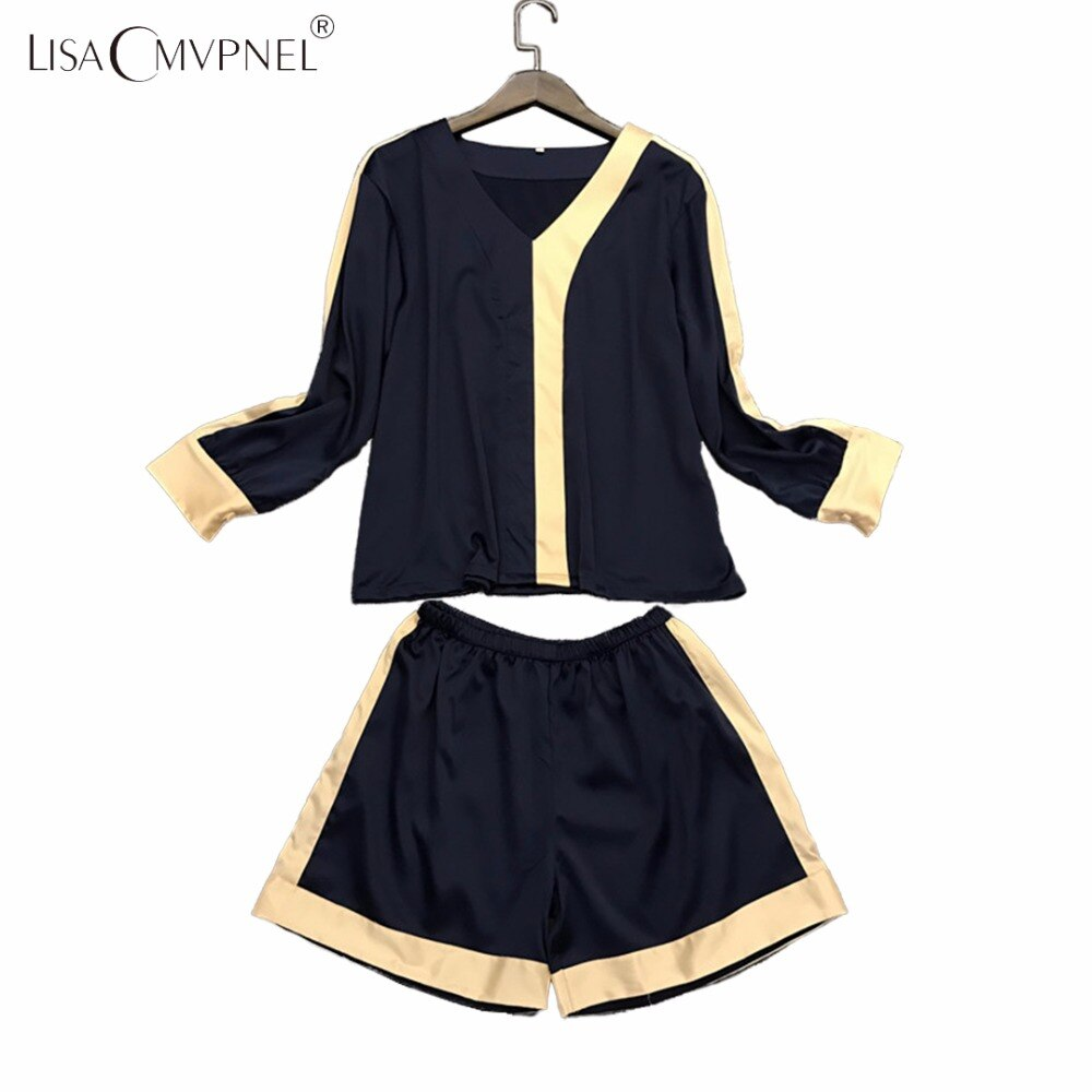 LISACMVPNEL rayón seda cuello pico de manga larga ropa de dormir ocio suave sexy pijamas Conjunto elegante femenina conjuntos