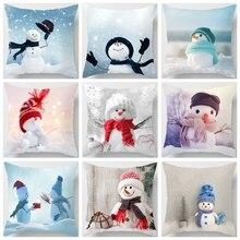 Polyester Kissen Fall Weihnachten Cartoon Schneemann Druck Färben Bett Home Decor Kissen Abdeckung Weihnachten Decor Pillowscases