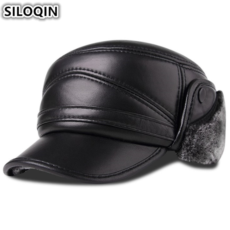 aorice new winter cotton cap genuine leather baseball cap hat men s real leather adult adjustable solid hats caps 3 colors hl132 SILOQIN Men's Genuine Leather Hat Winter Plus Velvet Thick Warm Baseball Cap With Earmuffs Sheepskin Leather Hats For Men New