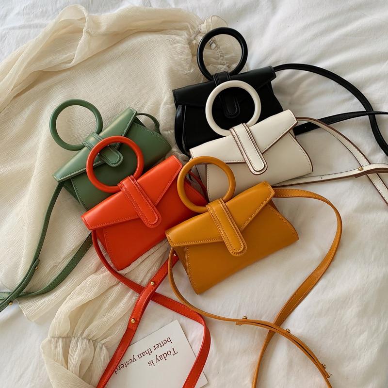 Fashion PU Leather Women's Handbags Purse Hand Bags Designer Small Crossbody Bag Green Orange Beige Yellow Bag for Women 2020