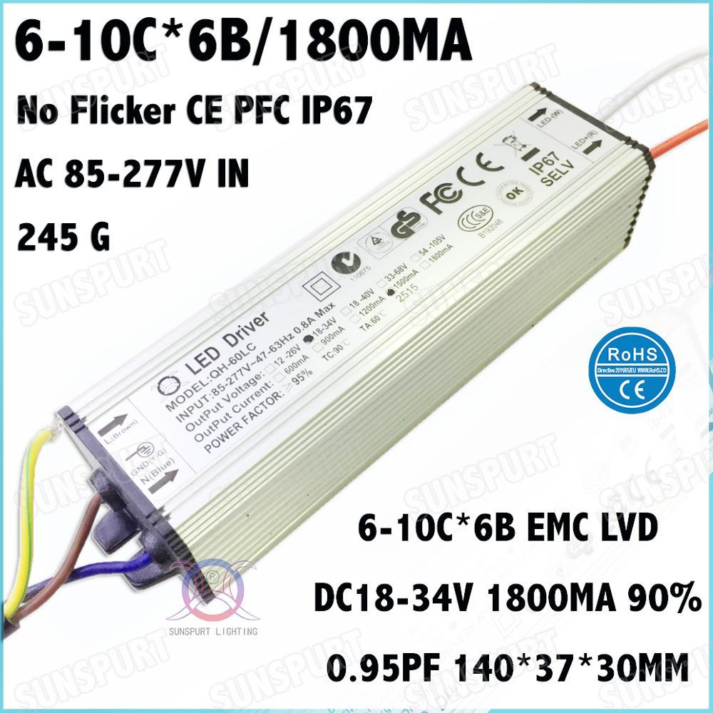 2 piezas sin parpadeo CE IP67 PF> 0,9 60 W de AC85-277V Controlador LED 6-10Cx6B 1800mA DC18-34V de corriente constante focos envío gratis