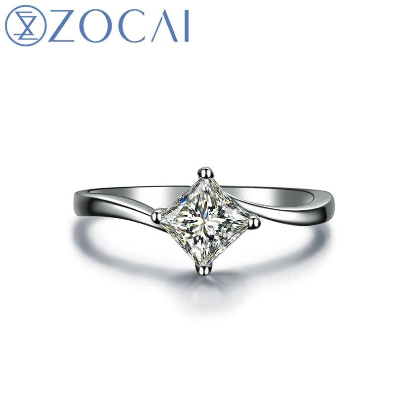 ZOCAI Natural 0,30 ct diamante princesa corte solitario diamante compromiso mujeres anillo 18 K oro blanco (Au750) W04070
