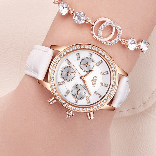 LIGE Top Luxury Brand Women Watches Leisure fashion Leather Quartz Ladies Diamond Dress watch Female