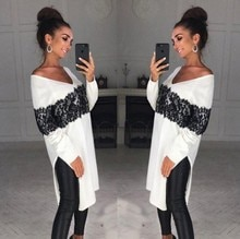 2018 Nouveau Chaud Mode Rétro Femmes V Cou À Manches Longues en Vrac Pull Oversize Pull Chemise En Dentelle Asymétrique hauts pullover grande taille