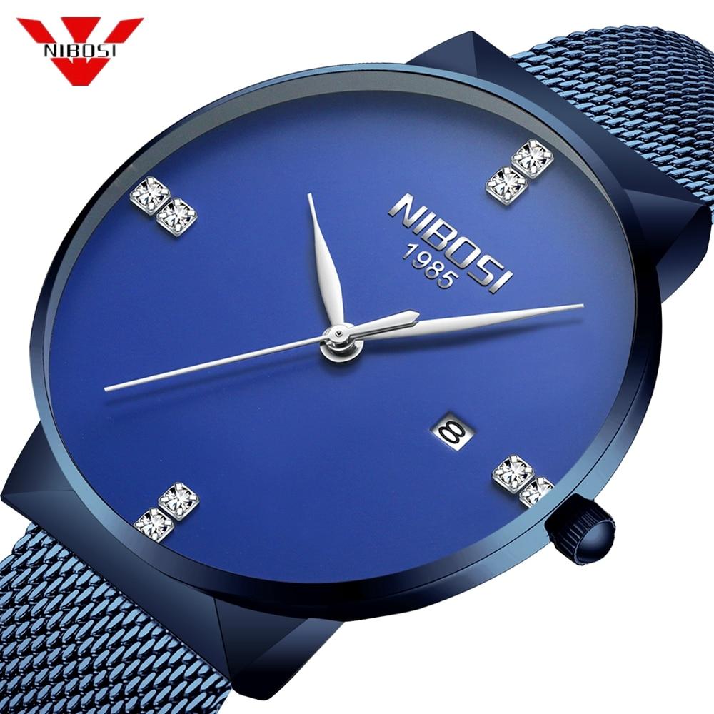 NIBOSI chronographe hommes montre Relogio Masculino bande bleue affaires Quartz montre horloge hommes Creative armée militaire montres