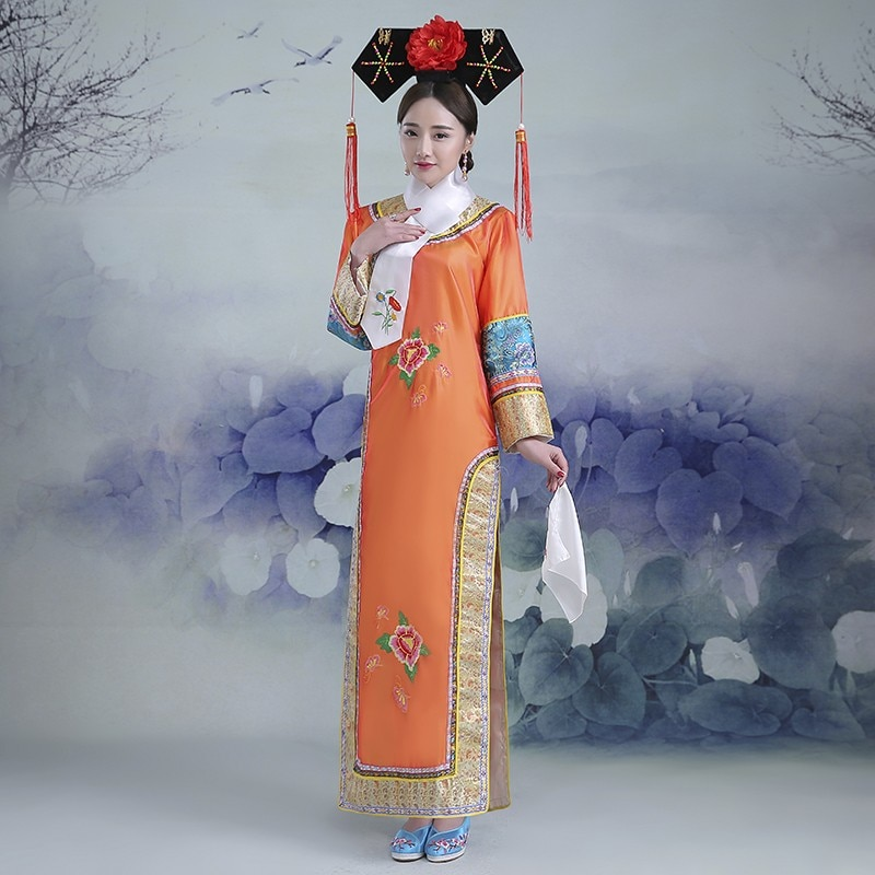 Embroidery girl Qing Dynasty Princess Costume womens Hanfu ancient court dress for cosplay stage performance
