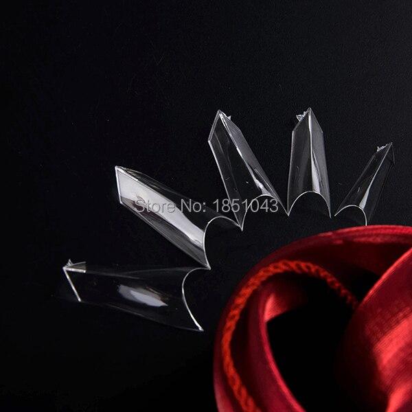 Puntas de uñas postizas francesas v-curve de alta calidad-claro 500 punta/caja