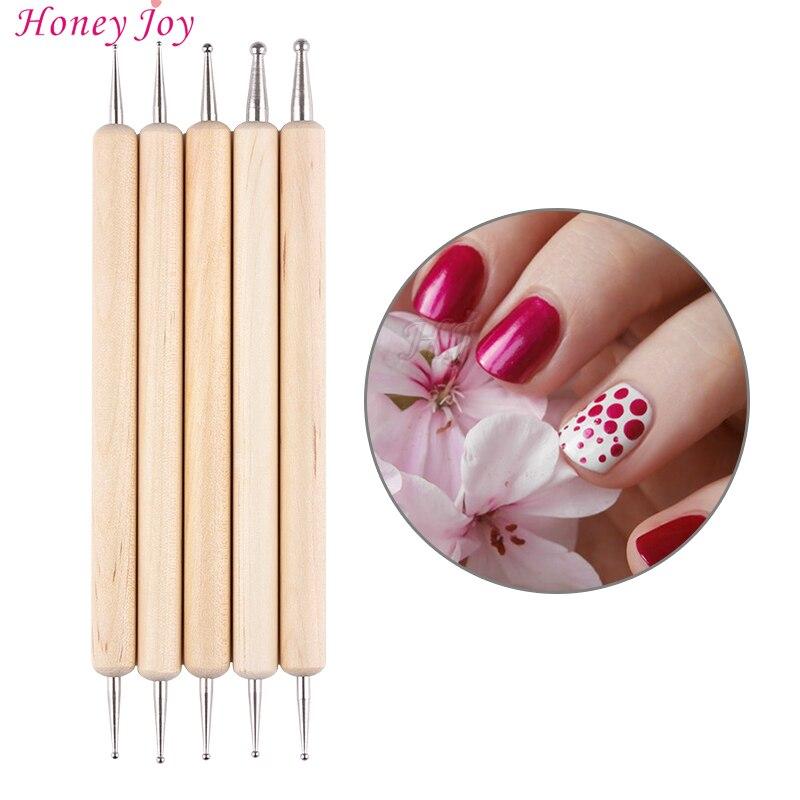 5Pcs 2 Way Wooden Dotting Pen Marbleizing Tool Nail Art Dot Doting Tool Set Manicure Painting Kit Design DIY Tools