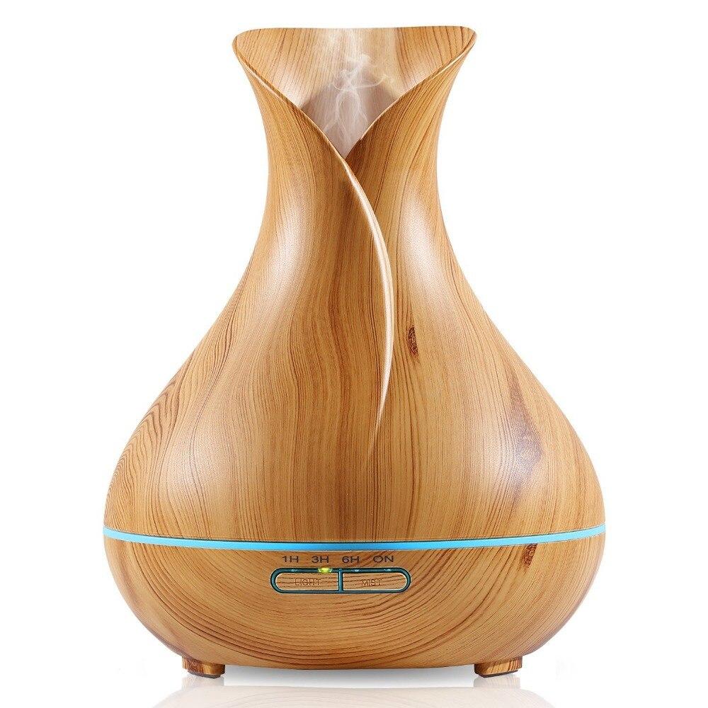 ¡Superventas de 2017! Humidificador ultrasónico estilo florero de tulipán 14W 400ML difusor de aceite esencial de aromaterapia de vapor fresco de grano de madera