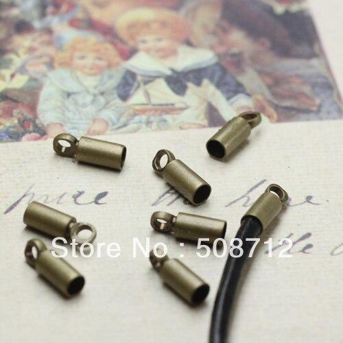 ¡Envío Gratis! 500 uniunids/lote collar de tono de bronce extremo Tib cuentas tapas con lazo ajuste 2mm Cordón de cuero