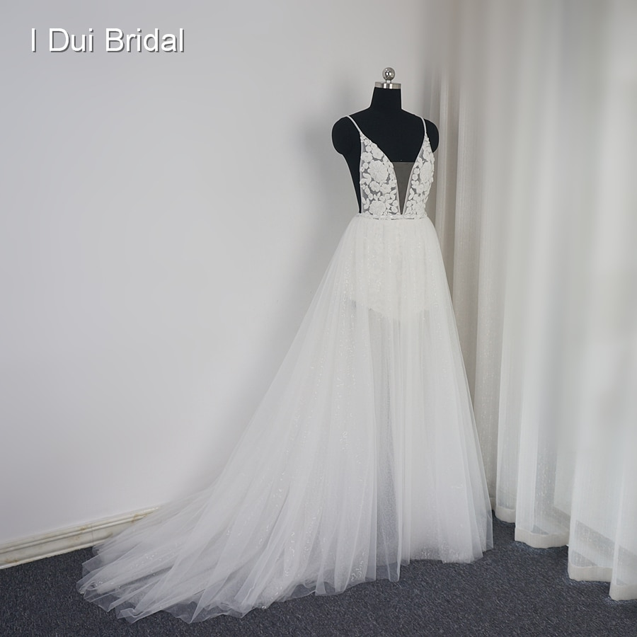 مثير عارية الذراعين شاطئ فستان الزفاف الترتر طبقة الوهم تنورة ضوء الجنية فستان زفاف