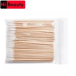 Высокое качество 1 мешок 100 шт деревянная ватная палочка тампоны для чистки ушей бровей губ Eyeline тату Косметика для макияжа