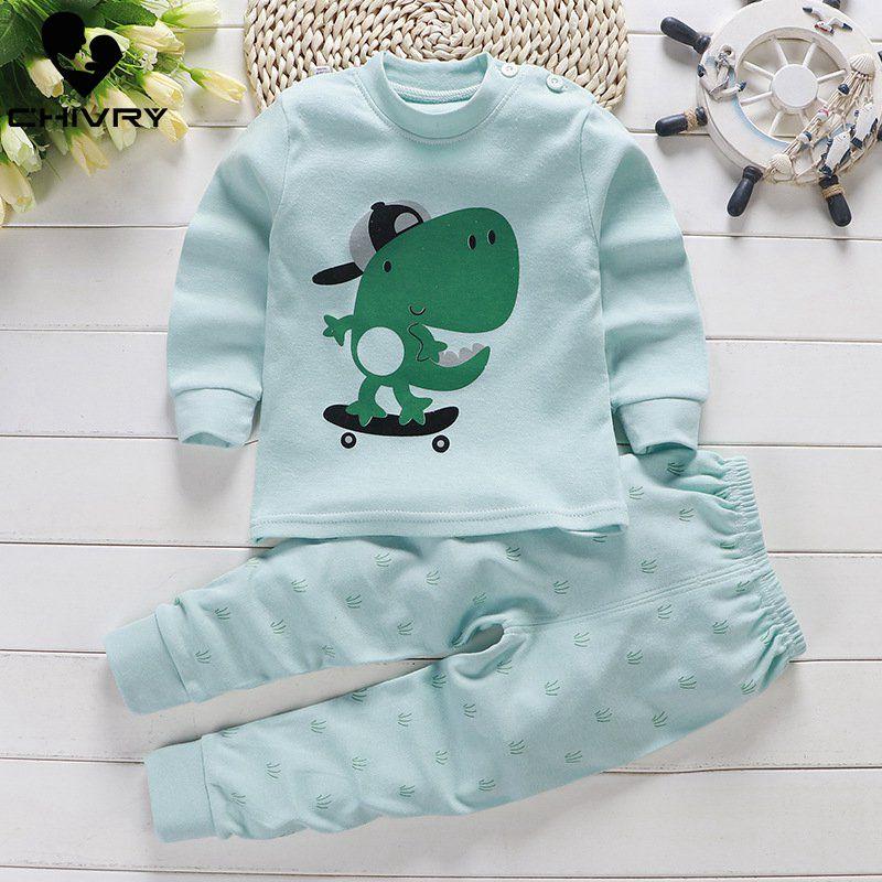 Conjunto de pijama de algodón para niños y niñas con estampado de dibujos animados de manga larga y cuello redondo Camiseta Tops con pantalones otoño Ropa para Niñas conjunto