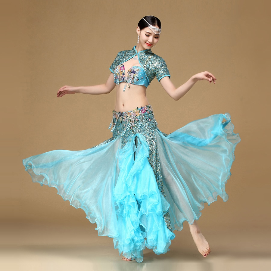 Belly Dancing Dance Costume Oriental Costumes Women Set Including Bra Skirt And Jacket Suit