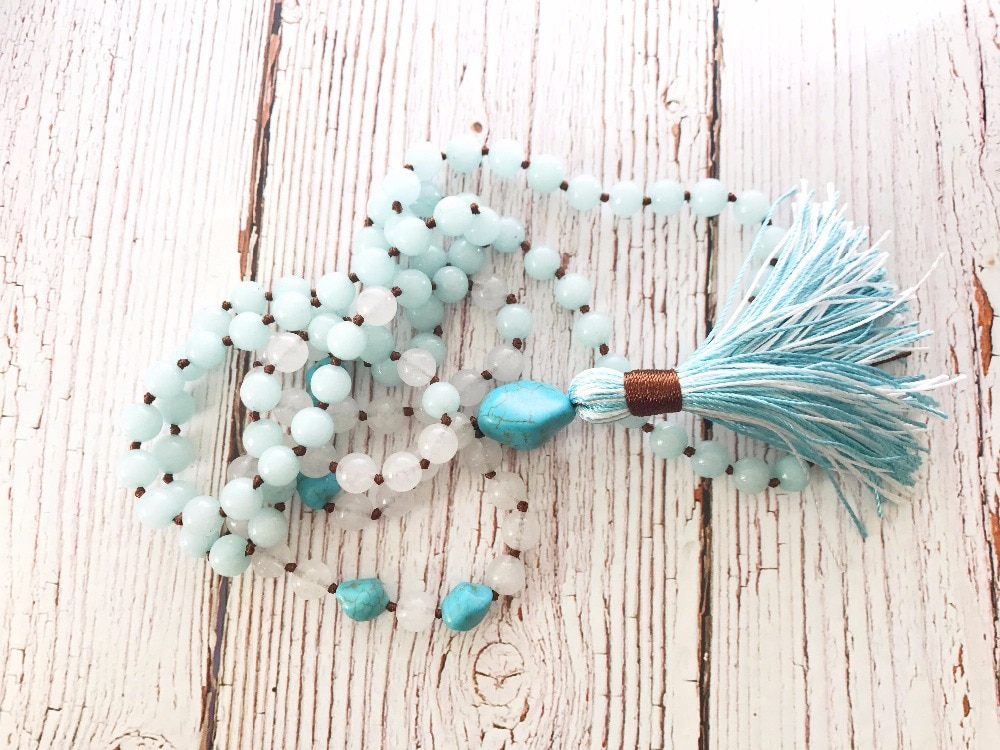 108 бусина мала s ожерелье, ручная работа, белая подвеска, медитация, ожерелье с кисточками, мала-йога, лучший подарок
