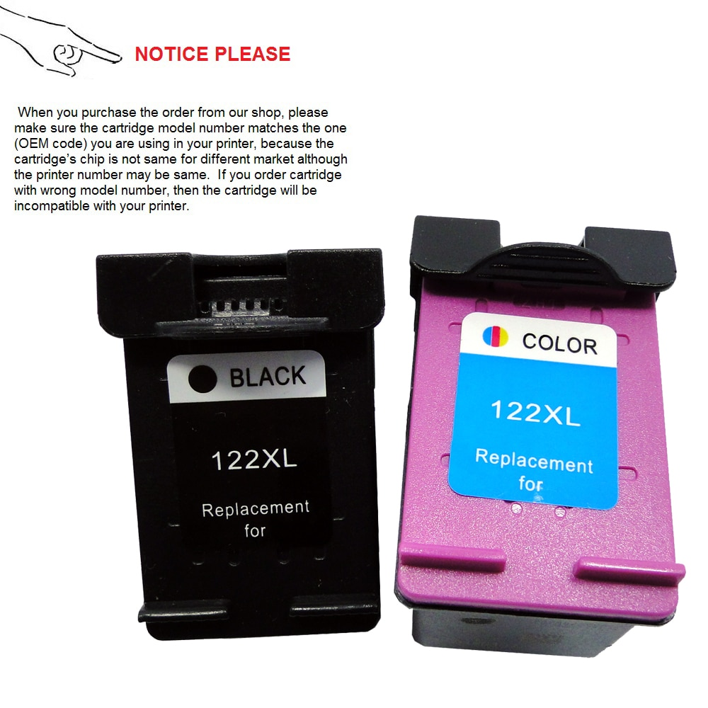 YOTAT 1 set cartucho de tinta remanufacturado para hp 122 hp 122XL para hp Deskjet serie 1000, 1050, 2000, 2050, 2050 3000 de 3050 J410a J510a