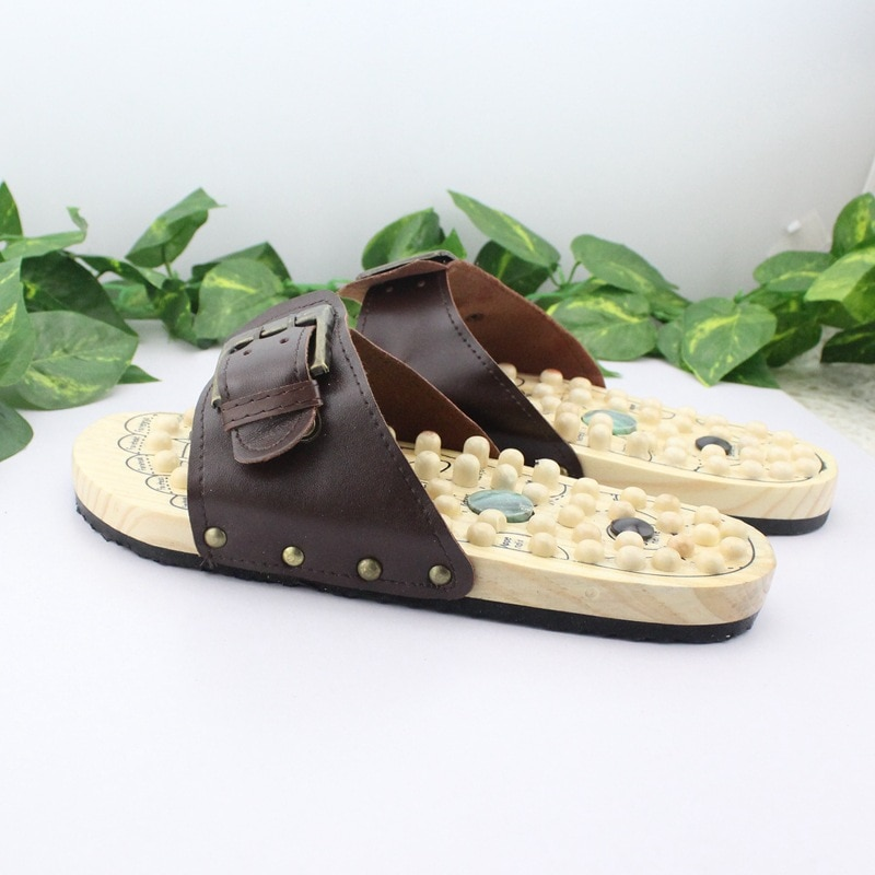 الرعاية الصحية قاعدة خشبية الوخز بالإبر مسمار الأحذية الصحية حذاء تدليك الحجر الطبيعي Acupoint اللياقة البدنية النعال