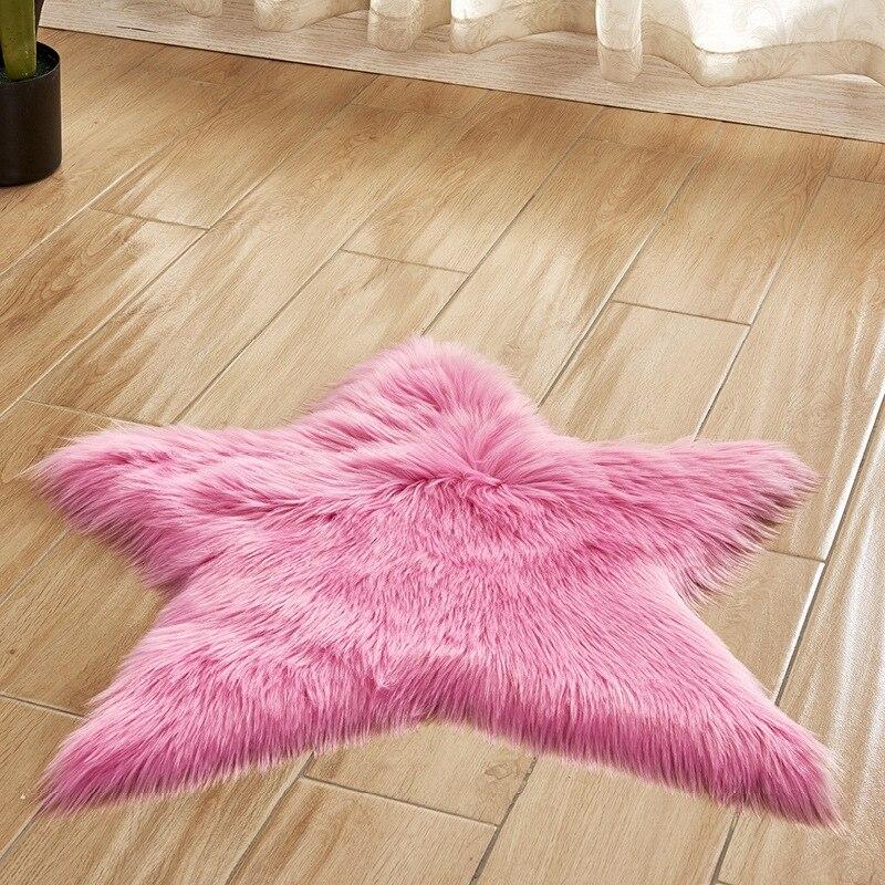 Alfombras de pelo de estrella de cinco puntas azules, blancas, rosas, habitación de bebé, alfombra peluda suave de lana Artificial, piel de oveja, alfombra peluda larga