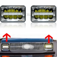 4x6 inch Chrome Headlamp Rectangular Led Work Light Hi/Lo Beam headlight For Chevy Camaro Peterbilt FreIghtliner Truck 2Pcs