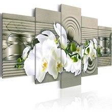 5 조각 간단한 흰색 난초 꽃 벽화 클래식 캔버스 포스터 꽃 벽 예술 거실 침실 홈 장식