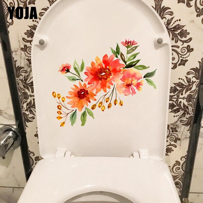 YOJA 23.6*19.8 CENTÍMETROS Da Flor Da Aguarela Da Planta de Cártamo Clássico Decoração de Casa Adesivos de Parede WC Wc Decal T1-1063