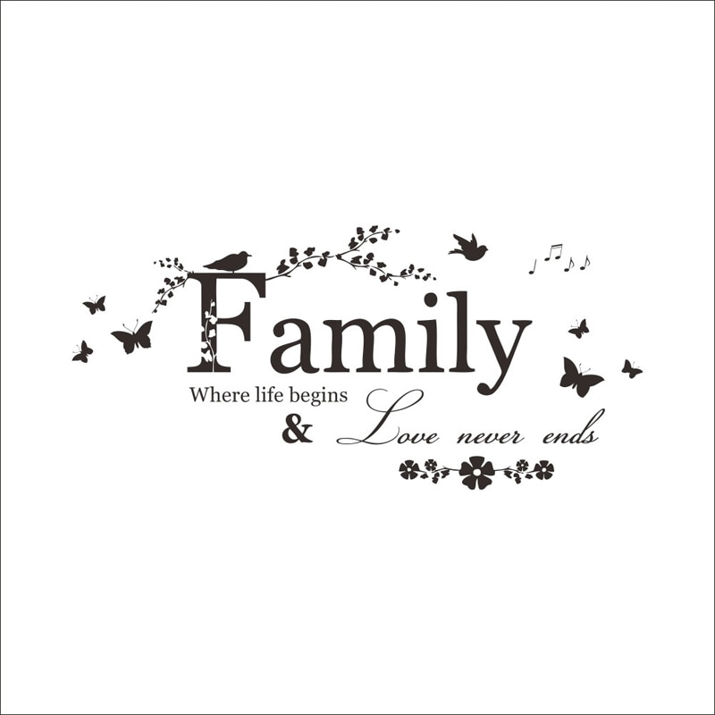 Купить с кэшбэком Family Love Never Ends Quote vinyl Wall Sticker Wall Decals Lettering Art Words Stickers Home Decor Wedding Decoration poster
