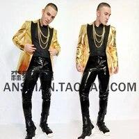 s 5xl new 2021 mens fashion slim fashion dj golden leather suit jacket male singer costumes men plus size clothing