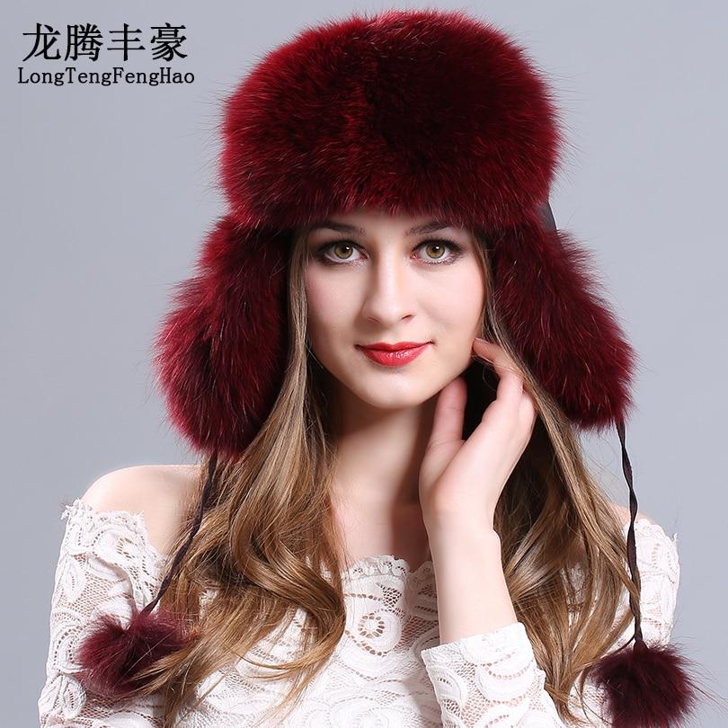 الفراء قبعة ضمان 100% الطبيعية حقيقية الفراء قبعات Bomber القبعات مع كرات الفراء سدادات حماية الأذن ضد الباردة الثعلب الفراء قبعة محبوك