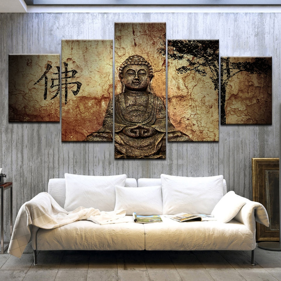 5Panel/pieza HD impreso Lienzo de buda cuadros budas pared pósteres impresos sobre...
