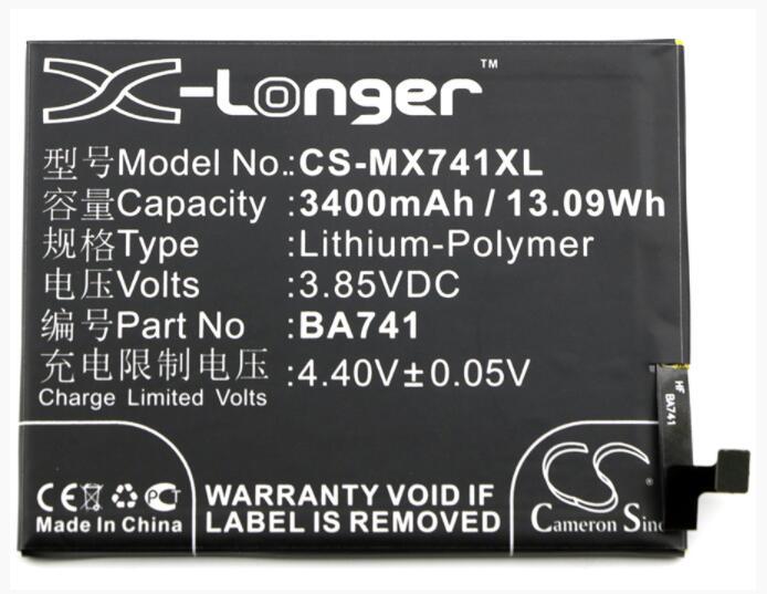 Batería de 3400mAh para MEIZU E2 E2 SIM Dual SIM TD-LTE M2E M741A BA741 para MEILAN E2 BA741 móvil smartPhone de batería