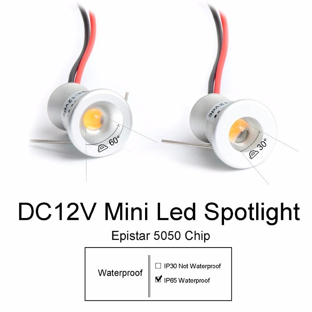 12V Светодиодный прожектор Мини прожектор IP65 Водонепроницаемый встраиваемый светильник витрина 1W алюминиевый корпус Q