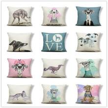 Подушка Грейхаунд I Love Dog, наволочка, подушка, сохраняющая улыбку, роза, кантри стиль, набор для подростков, наволочка 43 см, мешковина, известн...