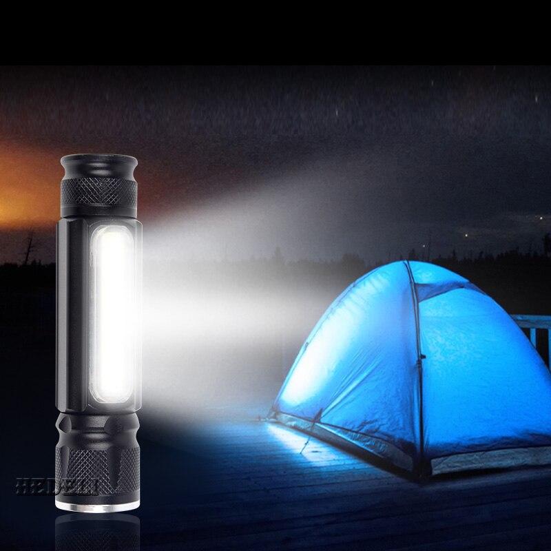 Potente linterna LED USB con batería 18650 con imán CREE MXL T6 y linterna COB linterna fina ajustable impermeable